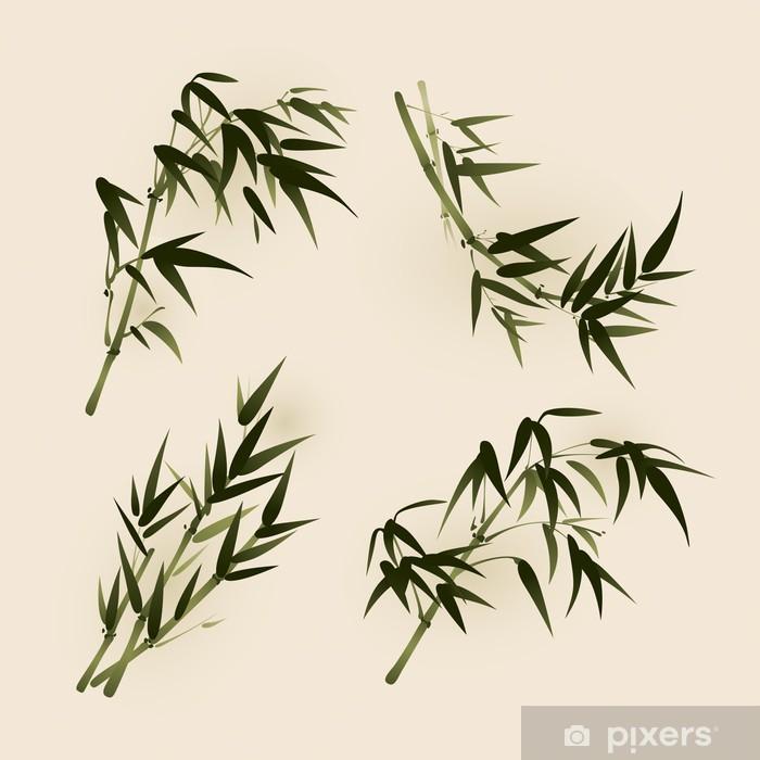 Bambu Yaprakları Vektörleştirilmiş Oryantal Tarzı Fırça Boyama