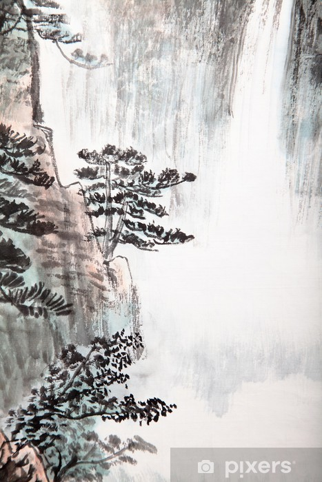 Vinilo Pixerstick La pintura china tradicional, paisaje -