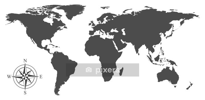 Vector world map Wall Decal - Wall decals