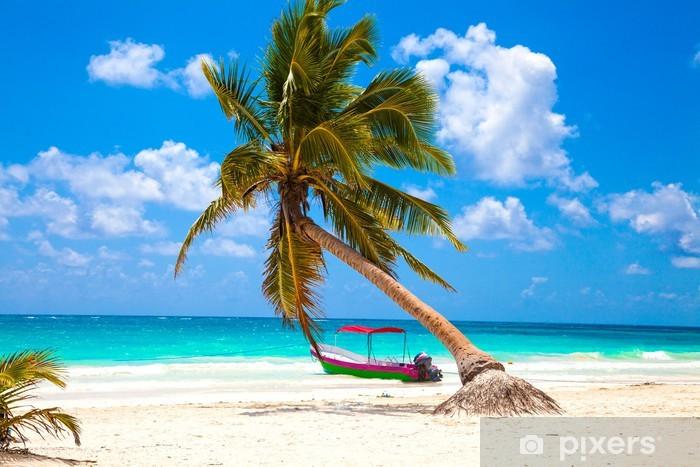 Pixerstick Sticker Vakanties en toerisme concept: Caribbean Paradise. - Palmbomen