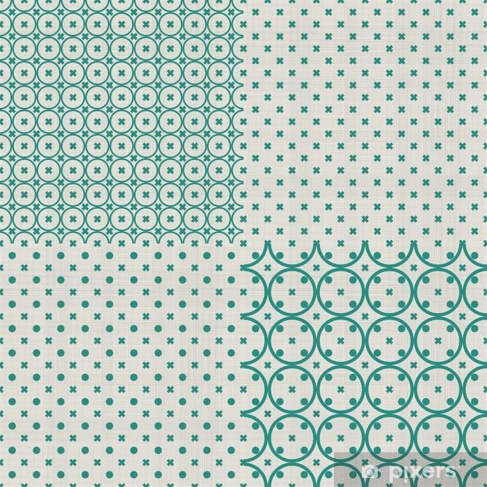 Naklejka Pixerstick Zestaw retro abstrakcyjne bez szwu tle z tkaniny tekstury - Tła
