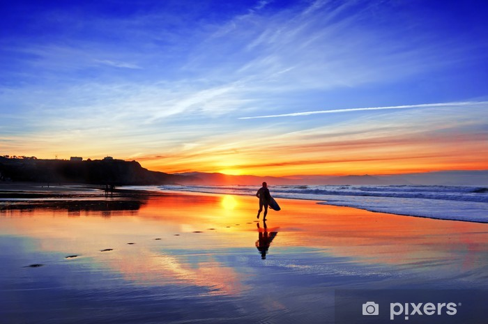 surfer in beach at sunset Pixerstick Sticker - Themes
