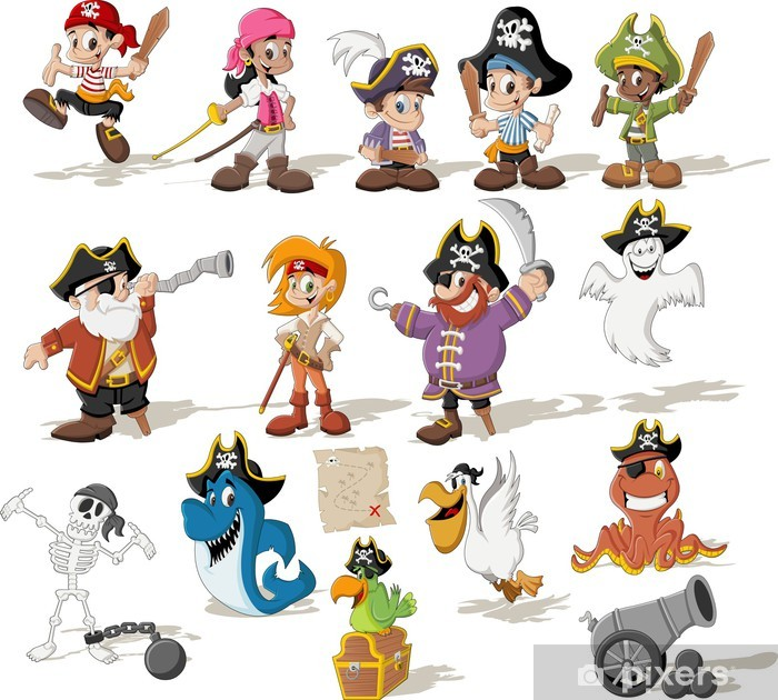 Group of cartoon pirates with funny animals Vinyl Wall Mural -