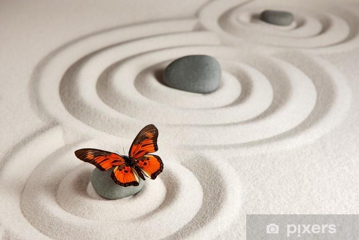 Zen rocks with butterfly Pixerstick Sticker - Styles