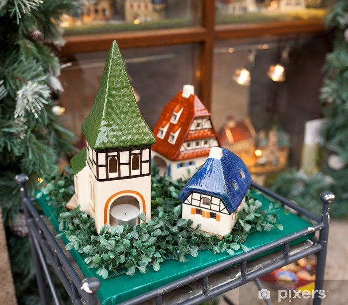 Poster Maisons de porcelaine, des souvenirs typiques de Rothenburg ob der Tauber - Vacances