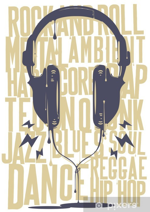 Painted Headphones Vinyl Wall Mural - Hip Hop