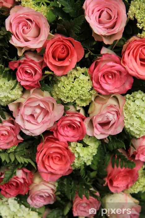 Naklejka Pixerstick Suknie ślubne układ, różowy róż i hortensji - Świętowanie