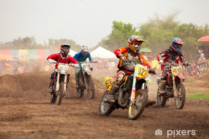 Sticker Pixerstick Cross moto - Sports extrêmes