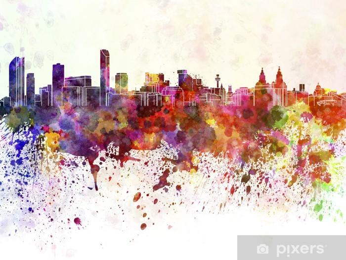 Fototapeta winylowa Liverpool skyline w tle akwareli - iStaging