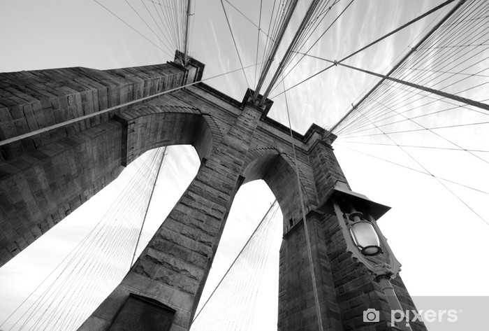 Vinyl Fotobehang Brooklyn Bridge Wide Angle 3 - Thema's