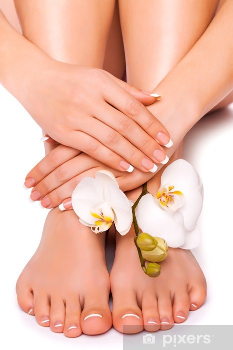 woman's manicured hand and pedicured feet with orchid flower Pixerstick Sticker - Body Parts