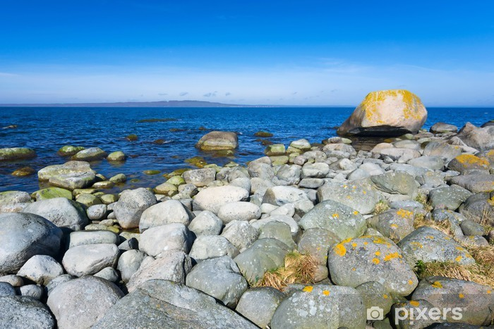 Sticker Pixerstick Côte rocheuse suédois dans la saison d'avril - Europe