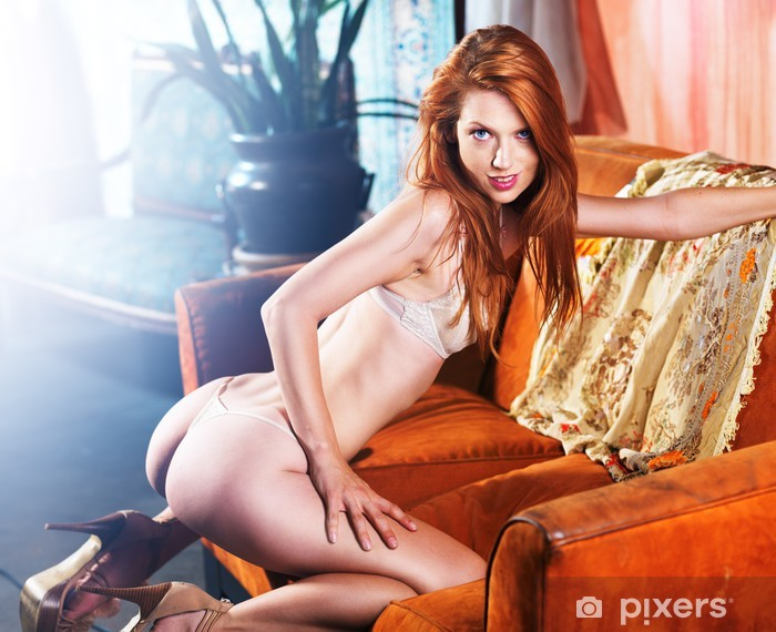sexy petite red head posing on couch Pixerstick Sticker - Themes