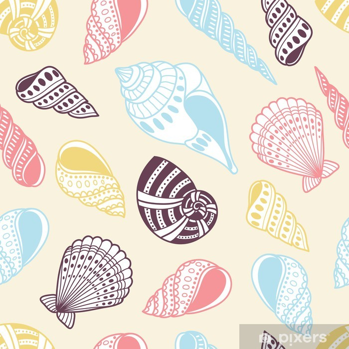 Sticker Pixerstick Coquilles, seamless - Arrière plans