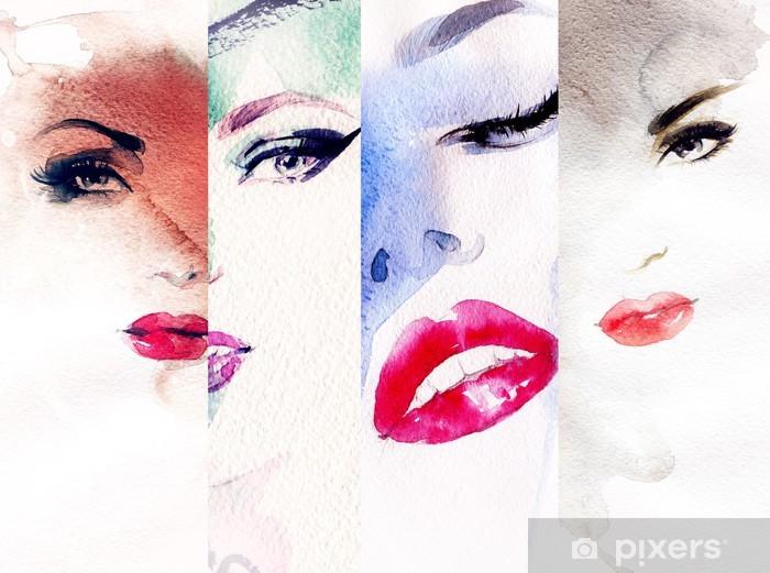 Sticker Pixerstick Aquarelle abstraite, portrait de femme - Thèmes