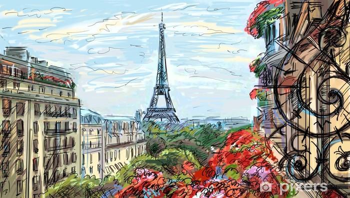 Fototapeta winylowa Ulica w Paryżu - ilustracja - Tematy