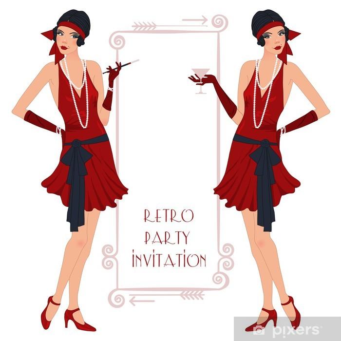 Klesskapklistremerke Retro flappper jente, fest invitasjon plakat - Underholdning