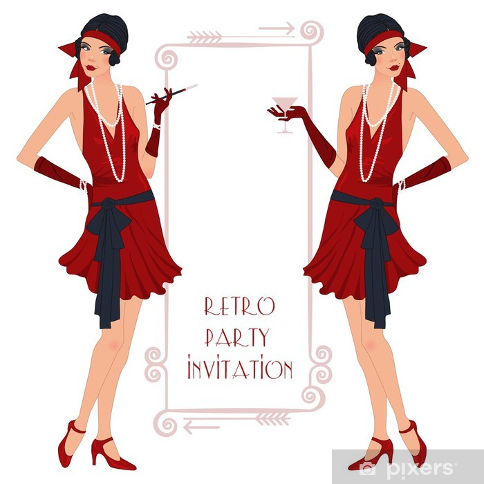 Retro flappper girl, party invitation poster Pixerstick Sticker - Entertainment