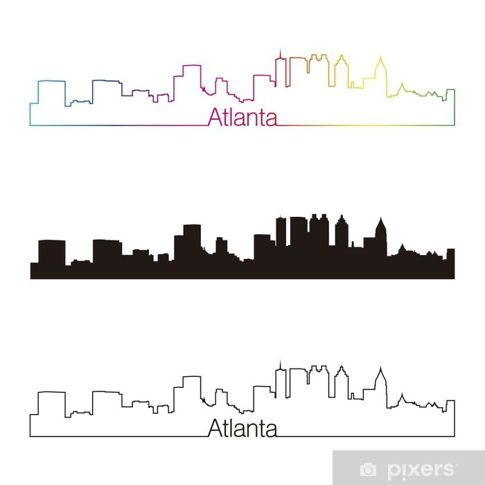 Naklejka Pixerstick Atlanta skyline styl liniowy z tęczy - Ameryka