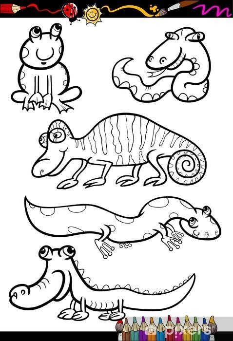 Karikatür Hayvanlar Boyama Kitabı Için Belirlenen çıkartması