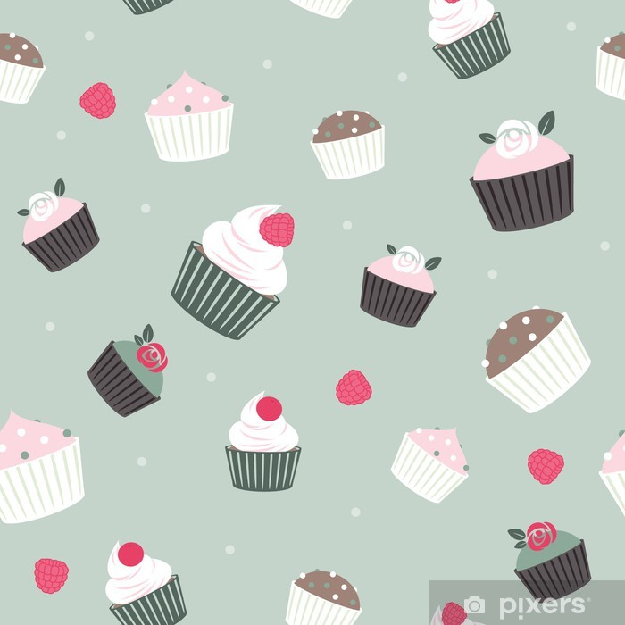 Seamless cupcakes and berries background - pale green color. Vinyl Wall Mural - Sweets and Desserts