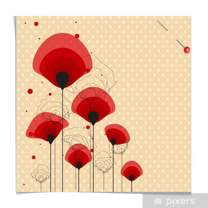 Papier peint vinyle Exemple de terrain fleur de pavot à pois - Saisons