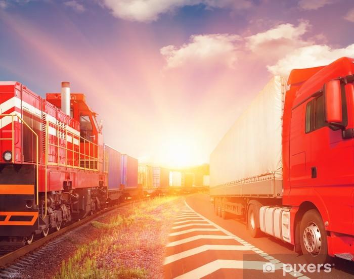 Naklejka Pixerstick Pociąg towarowy i transport ciężarówka jako koncepcji - Tematy