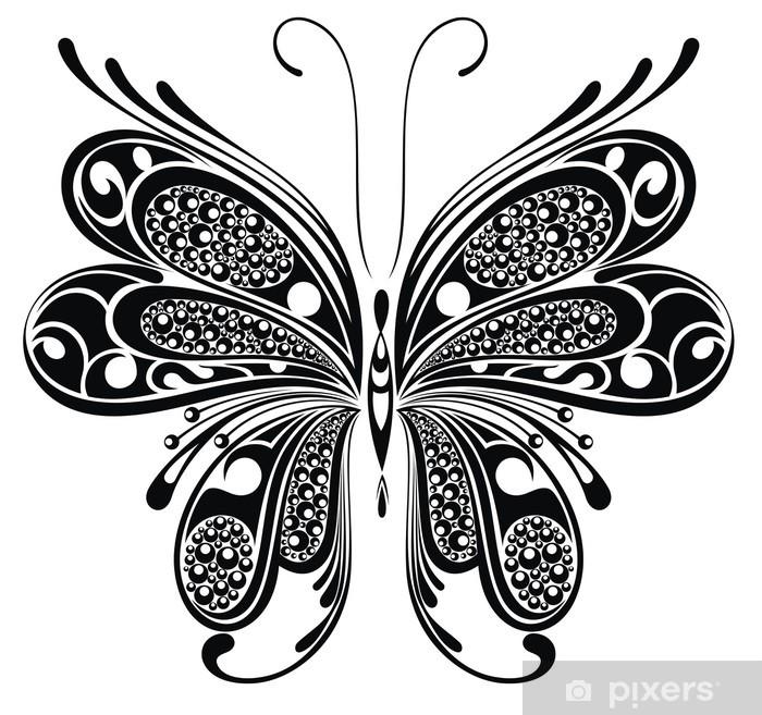 Fototapeta Winylowa Czarny Motyl Wzór Tatuażu