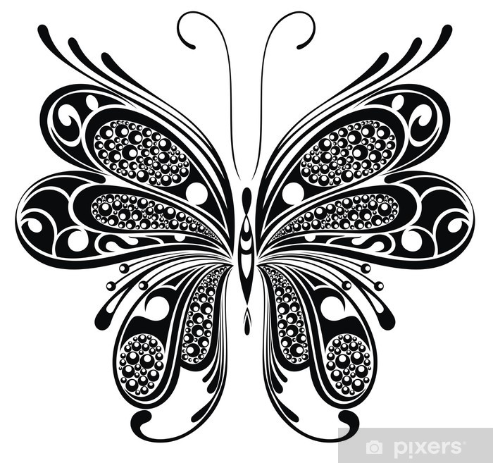 859e533d7 Black butterfly. Tattoo design Vinyl Wall Mural - Imaginary Animals. from$61