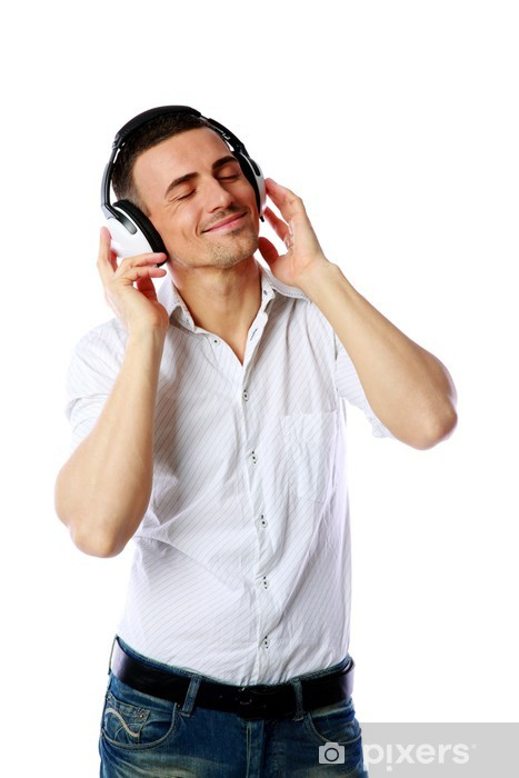 Fototapeta winylowa Człowiek ze słuchawkami słuchania muzyki na białym tle - Mężczyźni
