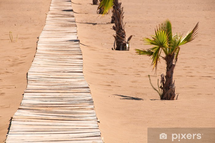 Fototapeta winylowa Stary drewniany most na piaszczystym brzegu - Wakacje