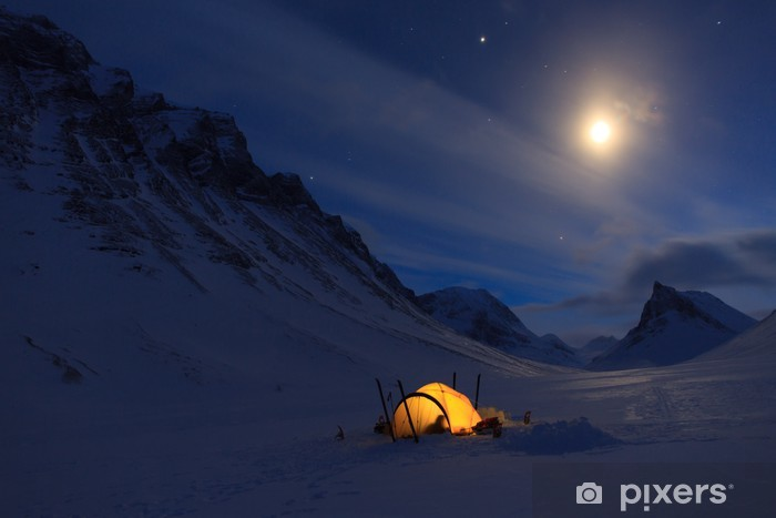 Vinyl-Fototapete Campen in den Bergen - Berge