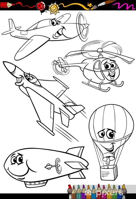 Karikatür Uçak Boyama Kitabı Için Belirlenen Duvar Resmi Pixers