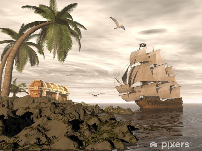 Pirate ship finding treasure - 3D render Vinyl Wall Mural - Themes