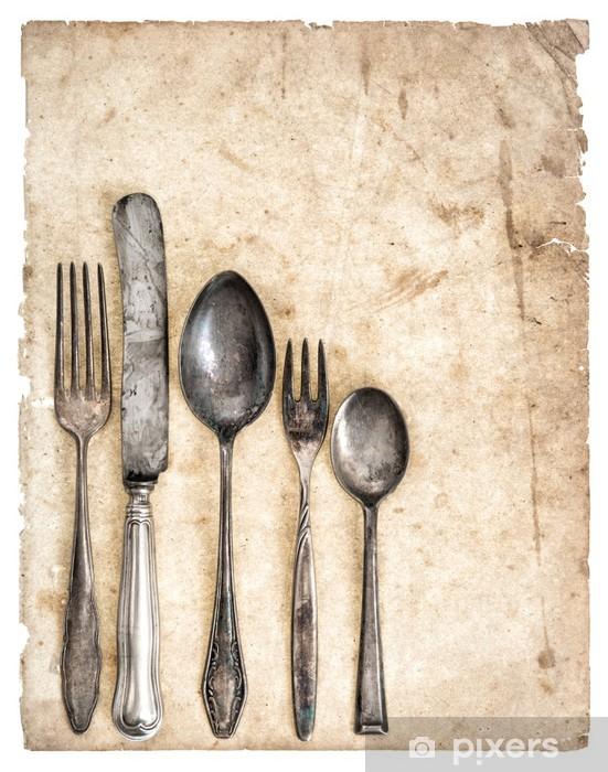 Vinilo Pixerstick Cubertería antigua y vieja página libro de cocina - Temas