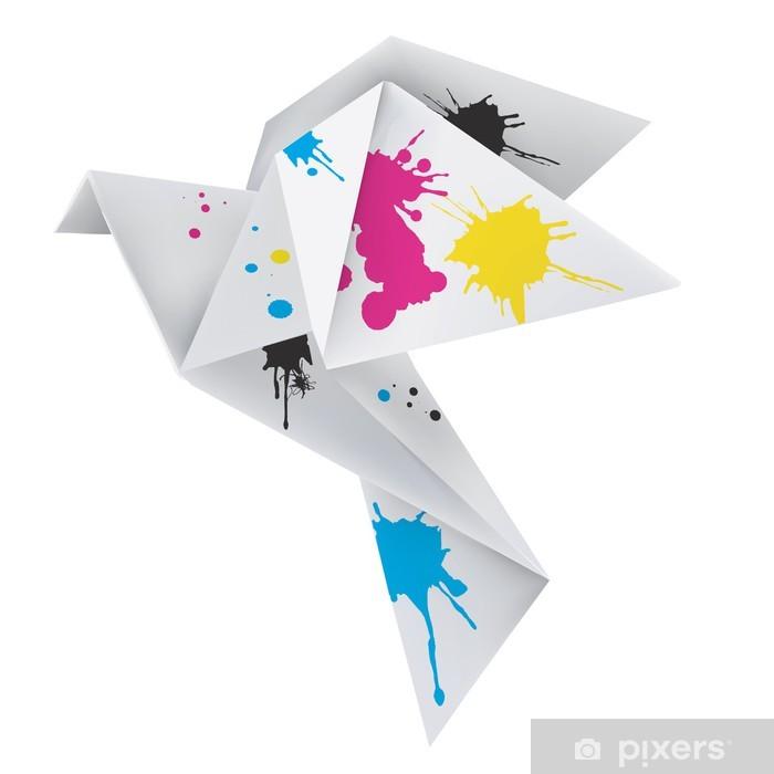 Fototapeta winylowa Origami gołąb z plamy tuszu - Koncepcje biznesowe