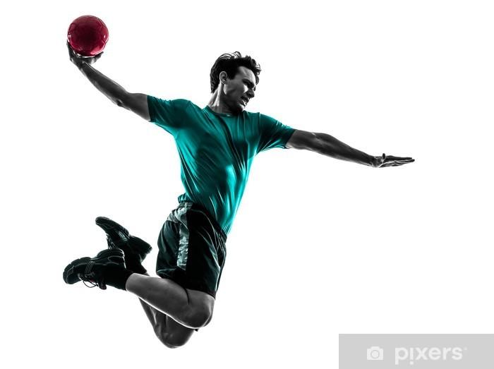 Pixerstick-klistremerke Ung mann utøver håndballspiller silhuett - Lagidrett