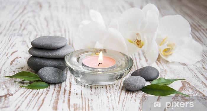 Pixerstick Sticker Spa set met witte orchideeën - Schoonheid en Lichaamsverzorging
