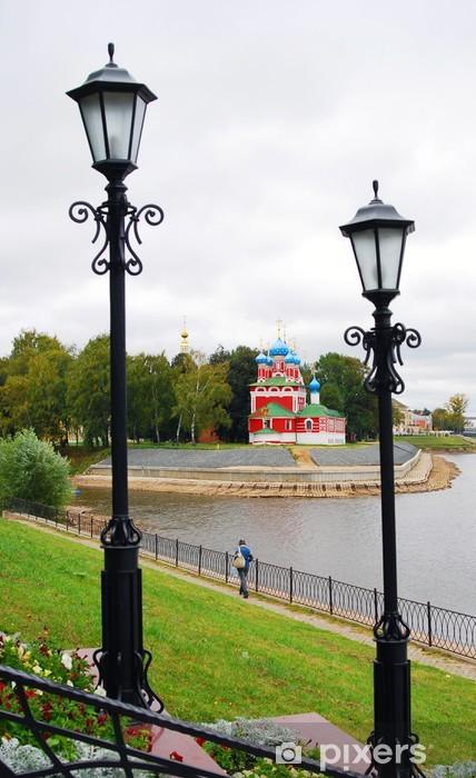 Naklejka Pixerstick Kreml w Uglich. Volga nasyp rzeki. - Wakacje
