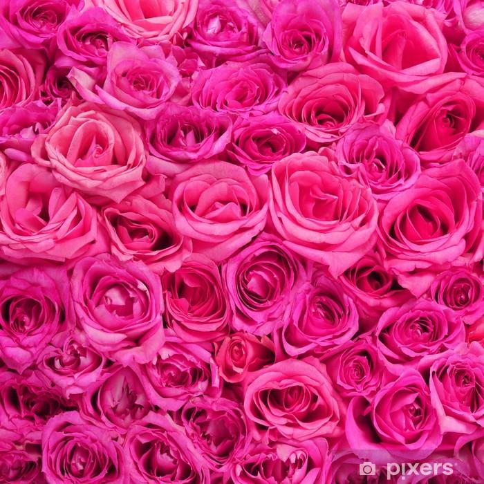 Sticker Pixerstick Roses. Fleurs roses fond - Fleurs