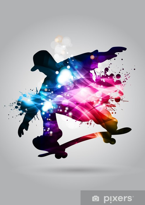 Naklejka Pixerstick Deskorolka - Skateboarding