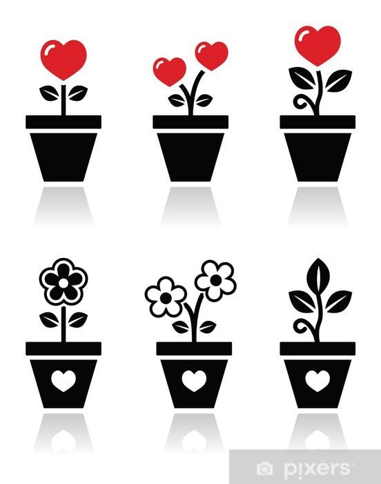 Sticker Coeur En Pot De Fleur Vector Icons Set Pixers Nous