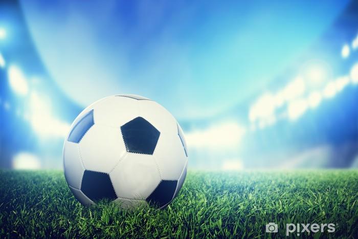 Fotomural Estándar Fútbol, partido de fútbol. Una pelota de cuero sobre césped en el estadio - Destinos