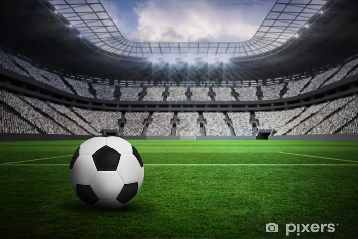 Composite image of black and white leather football Pixerstick Sticker - Sport