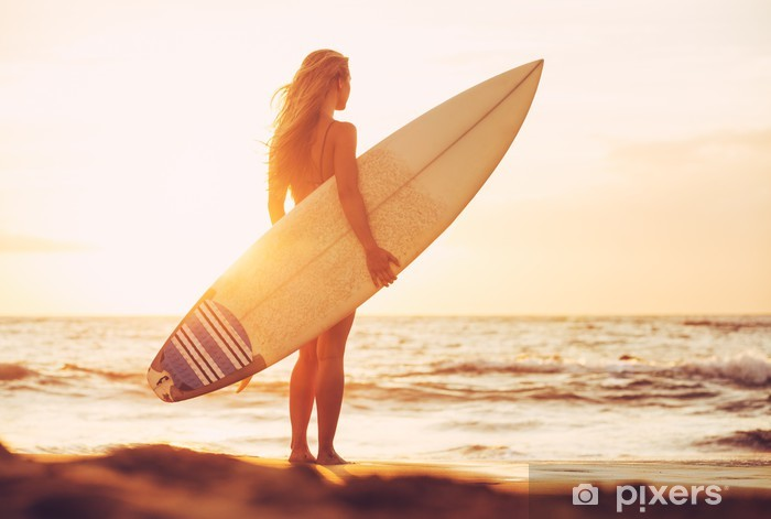 Surfer girl on the beach at sunset Vinyl Wall Mural - Themes