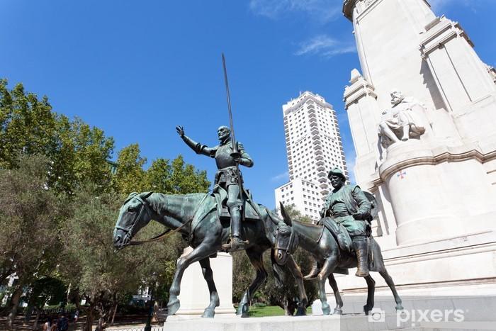 Fototapeta winylowa Madryt. Pomnik Cervantesa, Don Kichot i Sancho Pansa. - Zabytki