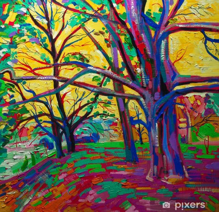 Fototapeta Oryginalny Obraz Olejny Las Wiosną Nowoczesny