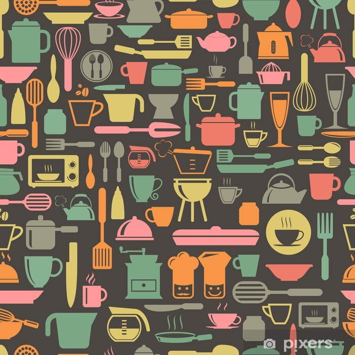 Kitchen tools seamless pattern with retro color, vector format Vinyl Wall Mural - Themes