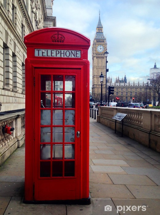 Red Telephone Booth and Big Ben in London, UK. Vinyl Wall Mural - Themes