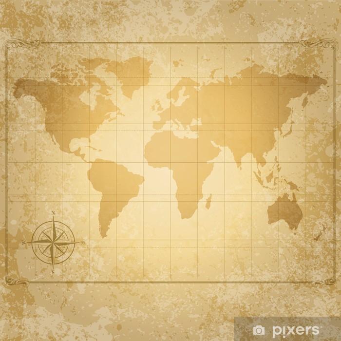 Plakat Wektor vintage, mapa świata z kompasem - Tematy